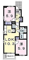 JR福塩線 鵜飼駅 徒歩5分の賃貸アパート 1階2LDKの間取り