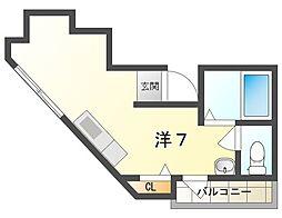 T-House 2階ワンルームの間取り