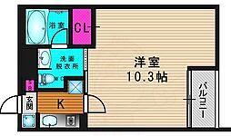 阪急嵐山線 上桂駅 徒歩10分の賃貸マンション 1階1Kの間取り