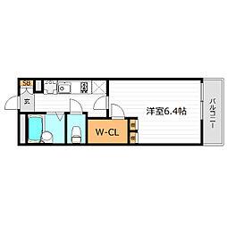 おおさか東線 城北公園通駅 徒歩5分の賃貸マンション 2階1Kの間取り