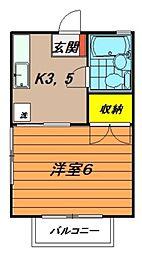 第6ミツワハイツ[1階]の間取り