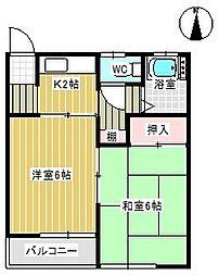 片方コーポ[2-1号室号室]の間取り