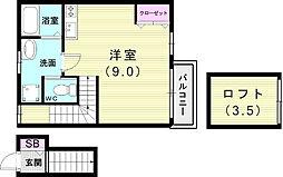 JR東海道・山陽本線 須磨駅 徒歩10分の賃貸アパート 2階ワンルームの間取り