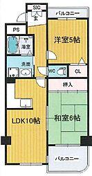 ラピュタクモン 横枕西 荒本8分[9階]の間取り