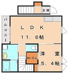 仮)古賀市中央2丁目アパート[2階]の間取り