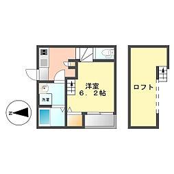 愛知県名古屋市中村区松原町2丁目の賃貸アパートの間取り
