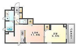 岡山電気軌道清輝橋線 東中央町駅 徒歩2分の賃貸マンション 3階1LDKの間取り