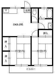 桜株コーポ[2階]の間取り