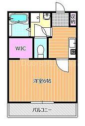 JR山陽本線 岡山駅 徒歩25分の賃貸アパート 2階1Kの間取り