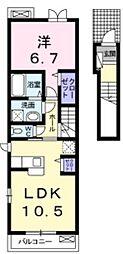 埼玉県狭山市広瀬台1丁目の賃貸アパートの間取り