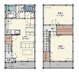 西鉄天神大牟田線 犬塚駅 徒歩8分の賃貸タウンハウス 1階2LDKの間取り
