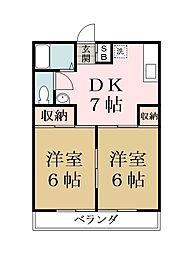 埼玉県越谷市東大沢4丁目の賃貸マンションの間取り