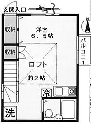 東京都豊島区駒込6丁目の賃貸アパートの間取り