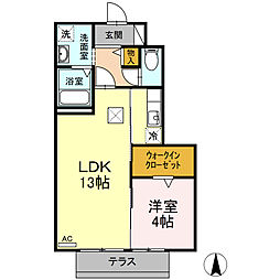 ネオハイツみゆきII 1階1LDKの間取り