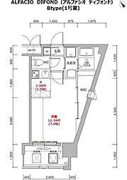 福岡市地下鉄箱崎線 呉服町駅 徒歩12分の賃貸マンション 12階1Kの間取り