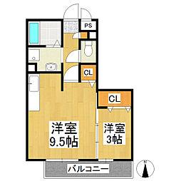 長野県安曇野市豊科の賃貸アパートの間取り