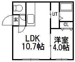 北海道札幌市白石区北郷二条3丁目の賃貸アパートの間取り