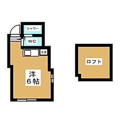 ユナイト金沢八景ヨハネスの杜 2階ワンルームの間取り