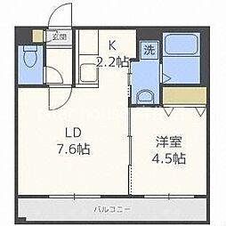 札幌市営南北線 北18条駅 徒歩3分の賃貸マンション 1階1LDKの間取り