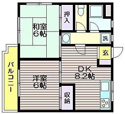 東京都調布市仙川町3の賃貸マンションの間取り