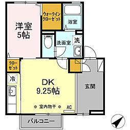 JR中央本線 韮崎駅 徒歩17分の賃貸アパート 1階1LDKの間取り