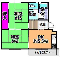 UR金剛マンション 338棟[4階]の間取り