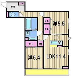 東武伊勢崎線 竹ノ塚駅 徒歩18分の賃貸アパート 3階2LDKの間取り