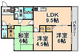 兵庫県伊丹市荻野6丁目の賃貸マンションの間取り