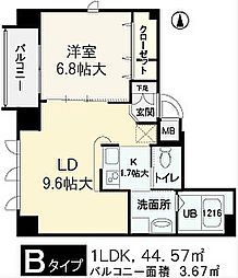 大阪府大阪市中央区内淡路町2丁目の賃貸マンションの間取り