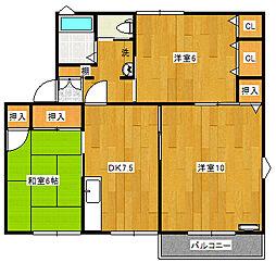 コーポ蜂屋敷[2階]の間取り