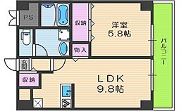 コーポ中津 5階1LDKの間取り