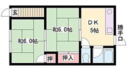 兵庫県加古川市野口町北野の賃貸アパートの間取り