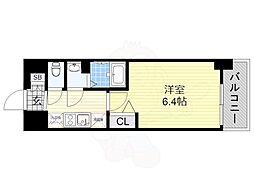 近鉄南大阪線 河堀口駅 徒歩3分の賃貸マンション 12階1Kの間取り
