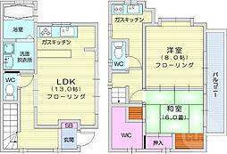 東新丁貸家 2階2LDKの間取り