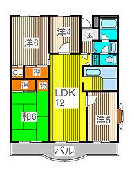 ドルフヤマノウチB[3階]の間取り