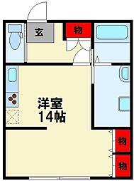 原田ビル 2階ワンルームの間取り