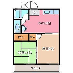 水谷アパート[2階]の間取り