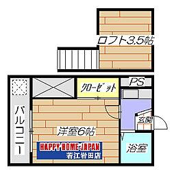 若江岩田駅徒歩13分 ラ・プティ[205号室]の間取り