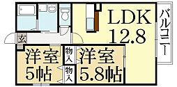 京都府京都市左京区岩倉花園町の賃貸アパートの間取り