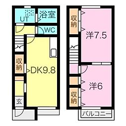 愛知県西尾市寺津1丁目の賃貸アパートの間取り