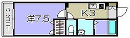 滋賀県東近江市猪子町の賃貸アパートの間取り