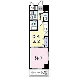 バス 我如古下車 徒歩5分の賃貸アパート 7階1DKの間取り