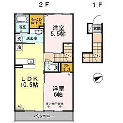 東京都町田市森野3丁目の賃貸アパートの間取り