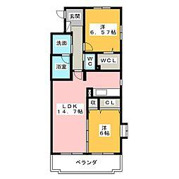 ヘリテイジ松岡[1階]の間取り