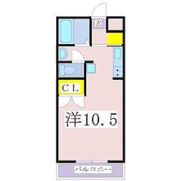 JR指宿枕崎線 鹿児島中央駅 徒歩37分の賃貸マンション 3階ワンルームの間取り