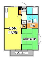 ユーハイム本町3号棟[1階]の間取り