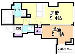 ラ・クラッセ札幌大通ウエスト 3階1LDKの間取り