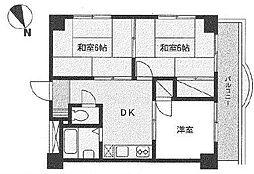 神奈川県横浜市中区花咲町1丁目の賃貸マンションの間取り