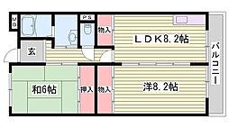 JR東海道・山陽本線 西明石駅 徒歩27分の賃貸マンション 2階2LDKの間取り