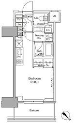 東京メトロ有楽町線 月島駅 徒歩1分の賃貸マンション 4階ワンルームの間取り